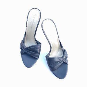 Jessica Simpson Black Leather Peep Toe Heels 9.5